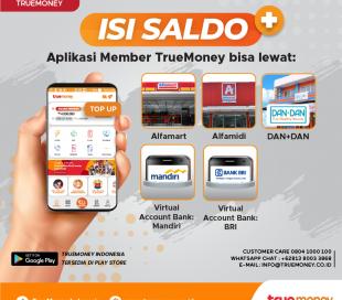 Top up balance TrueMoney Indonesia application (MEMBER)