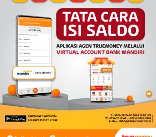Isi Saldo Aplikasi TrueMoney Indonesia melalui VA Bank MANDIRI
