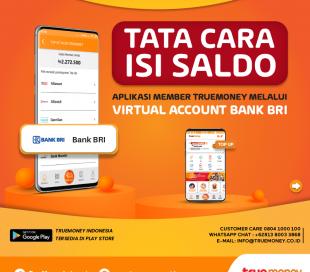 Isi Saldo Aplikasi TrueMoney Indonesia melalui VA Bank BRI (MEMBER)