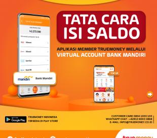 Isi Saldo Aplikasi TrueMoney Indonesia melalui VA Bank MANDIRI (MEMBER)