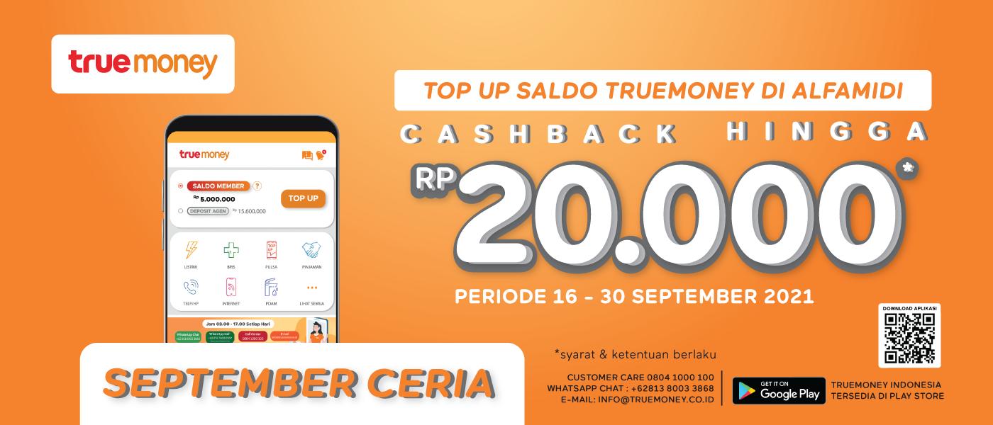 Top Up Saldo TrueMoney Cashback Hingga 20.000